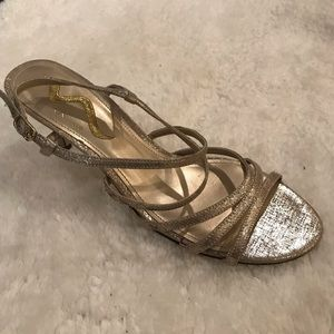 Nina Gold Shimmer Ankle Strap Heels
